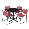 "Kobe 36"" Square Breakroom Table- Mocha Walnut  & 4 Zeng Stack Chairs- Burgundy"