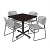 "Kobe 36"" Square Breakroom Table- Mocha Walnut  & 4 Zeng Stack Chairs- Grey"