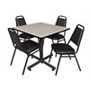 "Kobe 36"" Square Breakroom Table- Maple & 4 Restaurant Stack Chairs- Black"