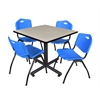 """Kobe 36"""" Square Breakroom Table- Maple & 4 'M' Stack Chairs- Blue"""