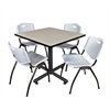 """Kobe 36"""" Square Breakroom Table- Maple & 4 'M' Stack Chairs- Grey"""