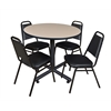 "Kobe 36"" Round Breakroom Table- Beige & 4 Restaurant Stack Chairs- Black"