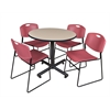 "Kobe 36"" Round Breakroom Table- Beige & 4 Zeng Stack Chairs- Burgundy"