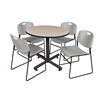 "Kobe 36"" Round Breakroom Table- Beige & 4 Zeng Stack Chairs- Grey"