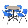 "Kobe 36"" Round Breakroom Table- Beige & 4 'M' Stack Chairs- Blue"