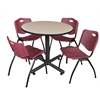 "Kobe 36"" Round Breakroom Table- Beige & 4 'M' Stack Chairs- Burgundy"