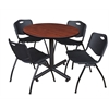 "Kobe 36"" Round Breakroom Table- Cherry & 4 'M' Stack Chairs- Black"