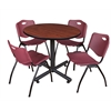 "Kobe 36"" Round Breakroom Table- Cherry & 4 'M' Stack Chairs- Burgundy"