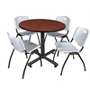 "Kobe 36"" Round Breakroom Table- Cherry & 4 'M' Stack Chairs- Grey"