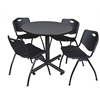 "Kobe 36"" Round Breakroom Table- Grey & 4 'M' Stack Chairs- Black"