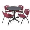 "Kobe 36"" Round Breakroom Table- Grey & 4 'M' Stack Chairs- Burgundy"