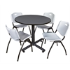 "Kobe 36"" Round Breakroom Table- Grey & 4 'M' Stack Chairs- Grey"