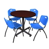 "Kobe 36"" Round Breakroom Table- Mahogany & 4 'M' Stack Chairs- Blue"