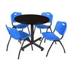 "Kobe 36"" Round Breakroom Table- Mocha Walnut  & 4 'M' Stack Chairs- Blue"