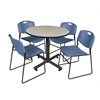"Kobe 36"" Round Breakroom Table- Maple & 4 Zeng Stack Chairs- Blue"