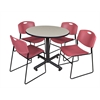 "Kobe 36"" Round Breakroom Table- Maple & 4 Zeng Stack Chairs- Burgundy"