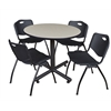 "Kobe 36"" Round Breakroom Table- Maple & 4 'M' Stack Chairs- Black"