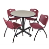"Kobe 36"" Round Breakroom Table- Maple & 4 'M' Stack Chairs- Burgundy"