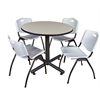 """Kobe 36"""" Round Breakroom Table- Maple & 4 'M' Stack Chairs- Grey"""
