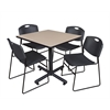 "Kobe 42"" Square Breakroom Table- Beige & 4 Zeng Stack Chairs- Black"