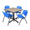 "Kobe 42"" Square Breakroom Table- Beige & 4 'M' Stack Chairs- Blue"