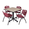 "Kobe 42"" Square Breakroom Table- Beige & 4 'M' Stack Chairs- Burgundy"