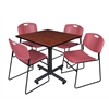 "Kobe 42"" Square Breakroom Table- Cherry & 4 Zeng Stack Chairs- Burgundy"