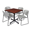 "Kobe 42"" Square Breakroom Table- Cherry & 4 Zeng Stack Chairs- Grey"