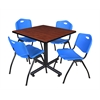 "Kobe 42"" Square Breakroom Table- Cherry & 4 'M' Stack Chairs- Blue"