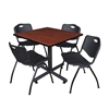 "Kobe 42"" Square Breakroom Table- Cherry & 4 'M' Stack Chairs- Black"