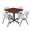 "Kobe 42"" Square Breakroom Table- Cherry & 4 'M' Stack Chairs- Grey"