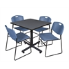 "Kobe 42"" Square Breakroom Table- Grey & 4 Zeng Stack Chairs- Blue"