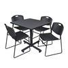 "Kobe 42"" Square Breakroom Table- Grey & 4 Zeng Stack Chairs- Black"