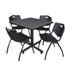 "Kobe 42"" Square Breakroom Table- Grey & 4 'M' Stack Chairs- Black"