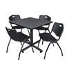 "Kobe 42"" Square Breakroom Table- Grey & 4 'M' Stack Chairs- Black"