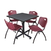 "Kobe 42"" Square Breakroom Table- Grey & 4 'M' Stack Chairs- Burgundy"