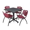 "Kobe 42"" Square Breakroom Table- Grey & 4 'M' Stack Chairs- Burgundy"