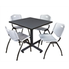 "Kobe 42"" Square Breakroom Table- Grey & 4 'M' Stack Chairs- Grey"