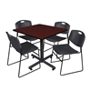 "Kobe 42"" Square Breakroom Table- Mahogany & 4 Zeng Stack Chairs- Black"