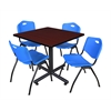 "Kobe 42"" Square Breakroom Table- Mahogany & 4 'M' Stack Chairs- Blue"