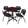 "Kobe 42"" Square Breakroom Table- Mahogany & 4 'M' Stack Chairs- Black"