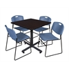 "Kobe 42"" Square Breakroom Table- Mocha Walnut  & 4 Zeng Stack Chairs- Blue"