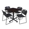 "Kobe 42"" Square Breakroom Table- Mocha Walnut  & 4 Zeng Stack Chairs- Black"