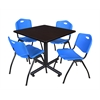 "Kobe 42"" Square Breakroom Table- Mocha Walnut  & 4 'M' Stack Chairs- Blue"