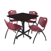 "Kobe 42"" Square Breakroom Table- Mocha Walnut  & 4 'M' Stack Chairs- Burgundy"