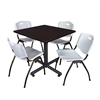 "Kobe 42"" Square Breakroom Table- Mocha Walnut  & 4 'M' Stack Chairs- Grey"