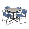 "Kobe 42"" Square Breakroom Table- Maple & 4 Zeng Stack Chairs- Blue"