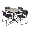 "Kobe 42"" Square Breakroom Table- Maple & 4 Zeng Stack Chairs- Black"