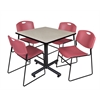 "Kobe 42"" Square Breakroom Table- Maple & 4 Zeng Stack Chairs- Burgundy"