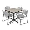 "Kobe 42"" Square Breakroom Table- Maple & 4 Zeng Stack Chairs- Grey"